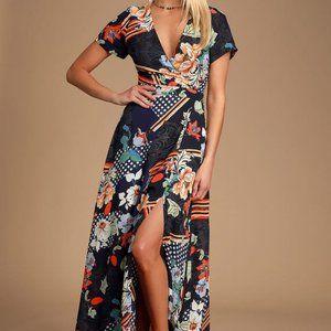 [Lulu's] Aleta Navy Blue Print Maxi Dress
